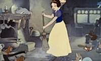 Snow White cleaning the cottage